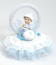 """Baby Boy in a shoe Shower Birthday Cake Top Blue Accent 7"""" tall"""