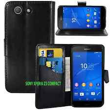 NEW BLACK WALLET LEATHER GEL CASE WITH CARD SLOT FOR SONY XPERIA Z3 COMPACT/MINI
