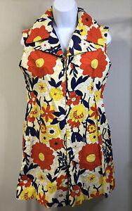 Vintage 60's 70's Romper Floral Flowers Collar Zipper Colorful GoGo Mod
