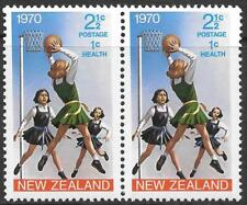 NEW ZEALAND 1970 2 1/2c + 1c pair with 'Phantom' doubling of 'NEW ZEALAND, UM.