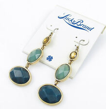 LUCKY BRAND Semi-Precious Jade Green Stone Gold-Tone Triple Drop Earrings