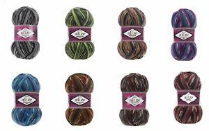 Sock Yarn by Alize Superwash 4ply  100g 75% Wool/25% Nylon Self Patterning