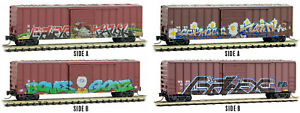 Micro-Trains MTL Z-Scale 50ft Box Cars Birds of a Feather Thanksgiving Graffiti