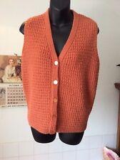 "vintage hand-knit wool-blend textured knit button front sleeveless jumper M -36"""