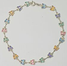 """Long Multi-Color Stones # 27 Gold Filled Butterfly Anklet 10"""" inch"""
