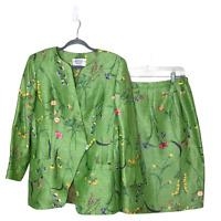 Vintage Constance Saunders Skirt Suit Green floral silk linen 10 office career