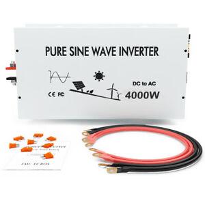 24V Power Inverter 4000W Pure Sine Wave 120V DC to AC Converter Car Truck Motor