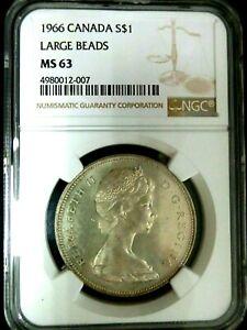 NGC MS63-Canada 1966 Elizabeth II-Large Beads Silver $1 BU