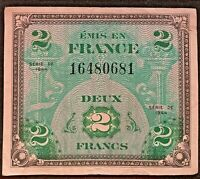 VINTAGE Series 1944 France Allied Military Currency 2 Francs