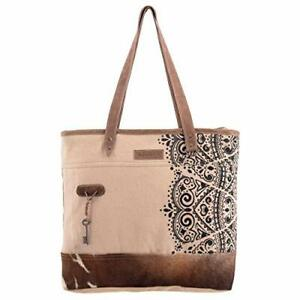 Sixtease Women's Tote Bag - Canvas and Leather Bag - Emblem Tote Bag