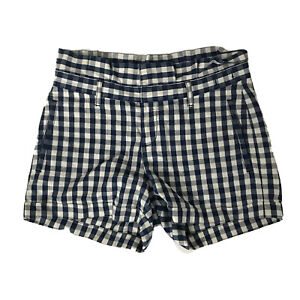 MADEWELL Blue Gingham Checked Paperbag Cuffed Shorts Womens Sz 25