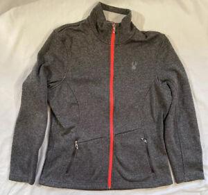 Spyder Core Sweater Full Zip Fleece Jacket Gray Pink Silver Women's Size XL