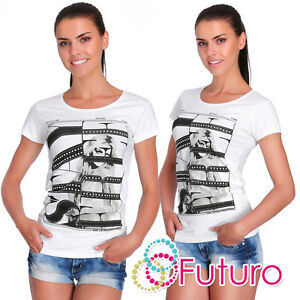 Casual Sequined T-Shirt Stay Free Print Top Party Ecru Tunic Sizes 8-12 FB258