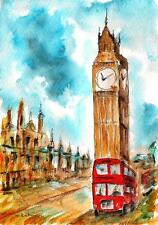 "A514-Signed Print of ORIGINAL WATERCOLOR PAINTING, ""Once in London"",Gift"