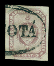 """COLOMBIA 1860  Coat of Arms   5c lilac - laid paper - Scott # 9 used """"BOGOTA"""" VF"""