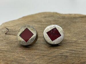 Taxco Vintage Red Oval Stone Onyx Coral Mexico Sterling 925 Silver Earrings