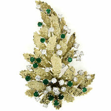 VINTAGE L 14k oro giallo 4.60ctw Diamante & SMERALDO testurizzate FOGLIA SPILLA