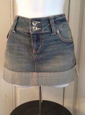 SO *Wear It, Declare It*  Distressed Denim Mini Skirt With  Cuffed Hem Size 9