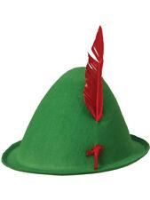 Adult Green German Alpine Oktoberfest Peter Pan Hat With Feathers