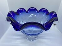 Vintage Mid Century Modern GODINGER SHANNON Cobalt Crystal Art Glass Comport
