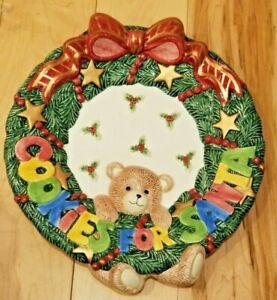 """Fitz and Floyd COOKIES FOR SANTA Plate Teddy Bear & Holly 10"""" NWT"""