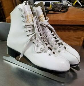 Vintage 1950's Lange Libra Canada Ice Figure Skates, Women's Size 6, White, Nice