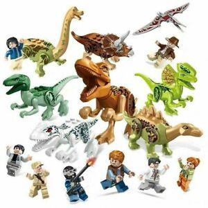 16PCS Mini Figures Dinos Jurassic World fit Lego Dinosaur Park Raptor toy Gifts