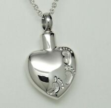 Engraveable Heart Stainless Steel Urn Necklace, Footprints in the Sand Memorial