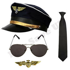 CHILDRENS KIDS PILOT HAT CAP BADGE TIE GLASSES AIRLINE CAPTAIN FANCY DRESS