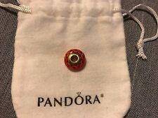 BRAND NEW Authentic Pandora 14k Gold Orange Lotus Murano Glass Charm 750502