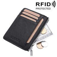 RFID Blocking Credit Card Holder Genuine Cowhide Leather Wallet Thin Slim Purse