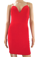 Red Slinky Strappy Plunge Mini Bodycon V Neck Dress By Pretty Little Thing