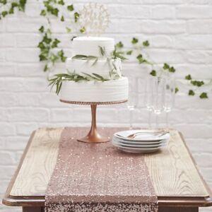 Tischläufer Roségold Glitter aus Pailletten - Länge 2,75m & Breite 30cm