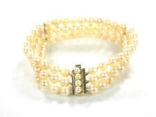 elegantes, 3-reihiges Akoya-Perlen-Armband - Schließe aus 585er Gold 14K