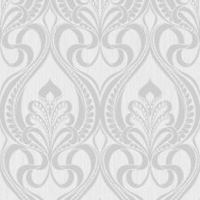 Art Nouveau Silver Glitter Damask Feature Wallpaper Textured Shimmer 113002