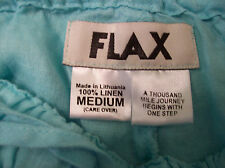 FLAX Made in Lithuania M 100% Linen Turquoise Crop Pants Elastic Waist NWOT
