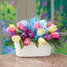 Fiber Optic Lightd Tulips White Wicker Basket Table Centerpiece Battery Operated