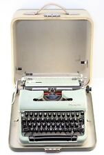 Vintage 1959 1960 Olympia SM4 De Luxe Typewriter Green With Portable Case-Works!