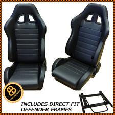 Pair BB4 Reclining Bucket Sports Seats Black + Adaptor Plates LANDROVER DEFENDER