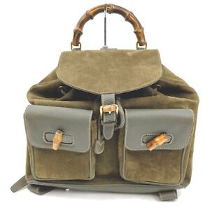 Gucci Back Pack  Olive Suede Leather 915353