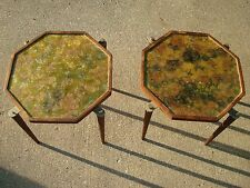 Retro Hippie 1960's Marbled Octoganal Stacking Nesting Cocktail Tables Set of 2