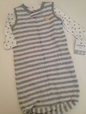 Carter's Baby Boys Gown Sack  Wearable Blanket Size 3-6 Months Grey Stars 2pc