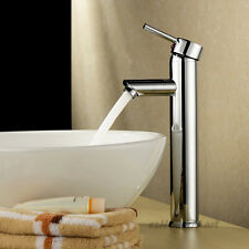 Round Chrome Bathroom Basin Tap Sink Hot Cold Mixer Tall Vanity Counter Faucet