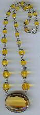 VINTAGE CZECH FACETED GOLDEN YELLOW GLASS AND CRYSTAL PENDANT NECKLACE