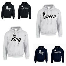 KING QUEEN CROWN 01 HOODIE JUMPER MR MRS valentines day Couple Matching (HOOD)