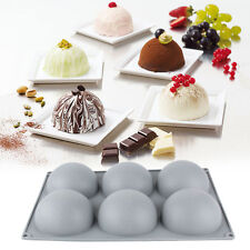 6 Half Sphere Plate Platinum Silicone Cake Mold Tray Square Mould Bakeware