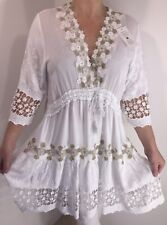 NEW White Tunic Lace Top Drawstring Ornate Gold Floral Long Fits Sizes 14-20