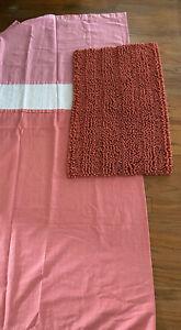 """Kate Spade Shower Curtain Pink White Peach Striped 72"""" X 72"""" Laura Ashley Rug"""
