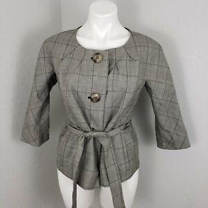Ann Taylor Blazer Sz 10 Petite gray plaid 3/4 sleeve belt slimming work office