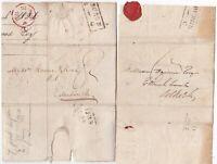 # 1826/7 2 JEDBURGH MILEAGE PMK LETTERS GEO SCOTT? SAMUEL WOOD TAXES EDINBURGH